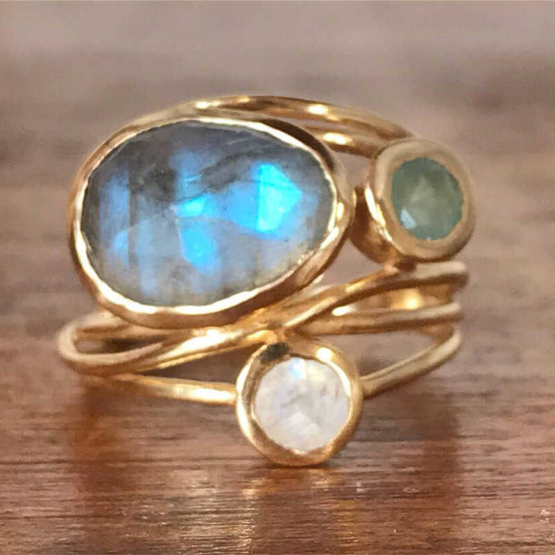 ZHOUYANG Rings For Women Romantic Style Colorful Moonstone Yellow Gold Color Anniversary Creative Gift Fashion Jewelry KAR290
