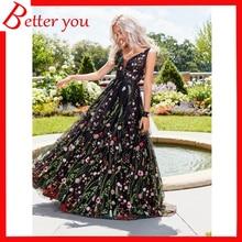 Summer dress 2019 women deep V sleeveless embroidered Sexy party dress backless big swing long Floral maxi dress flower embroidered sleeveless maxi dress