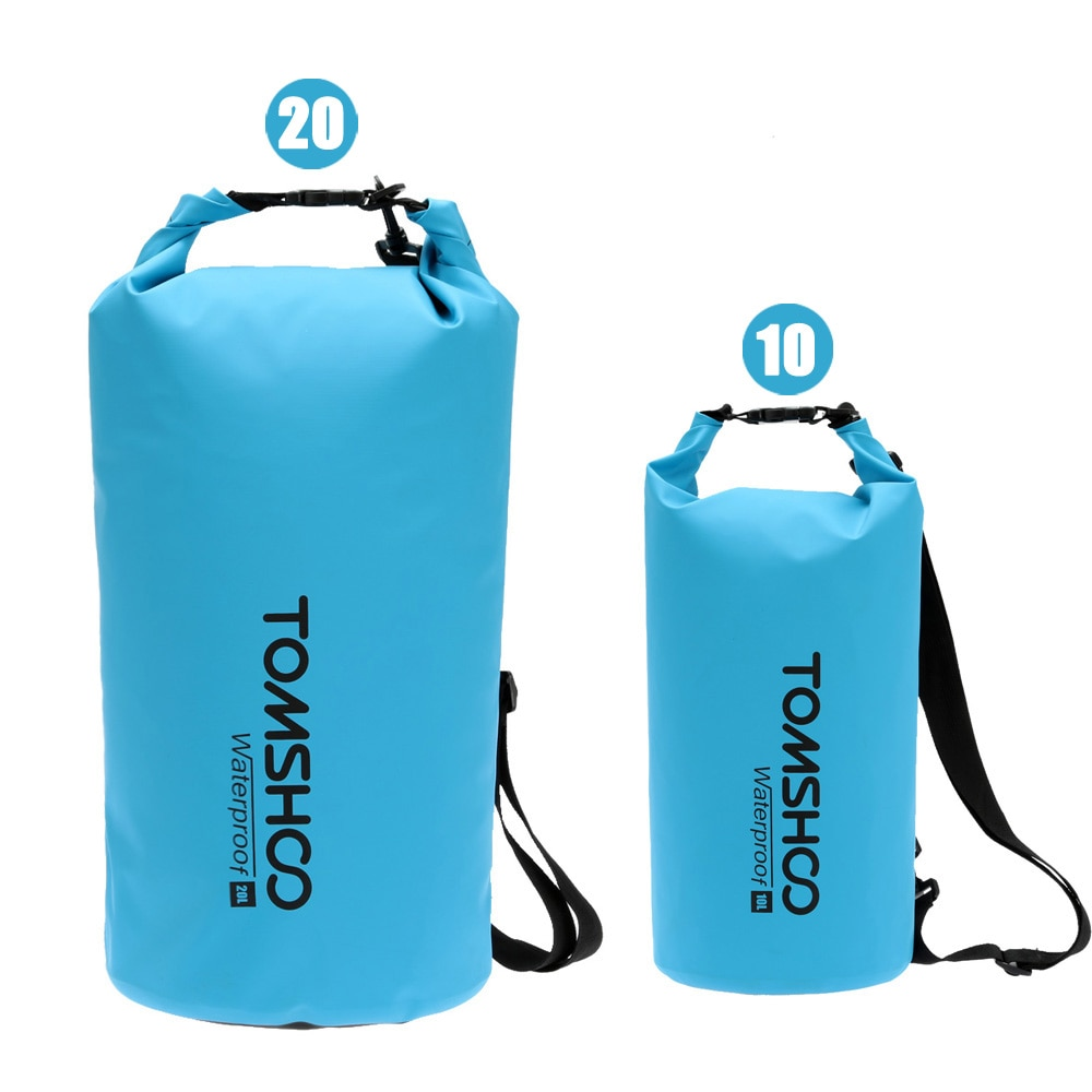TOMSHOO Outdoor PVC Waterproof Dry Sack Storage Bag for Travelling Rafting Boating Kayaking Canoeing Camping Swimming Bag 10L20L