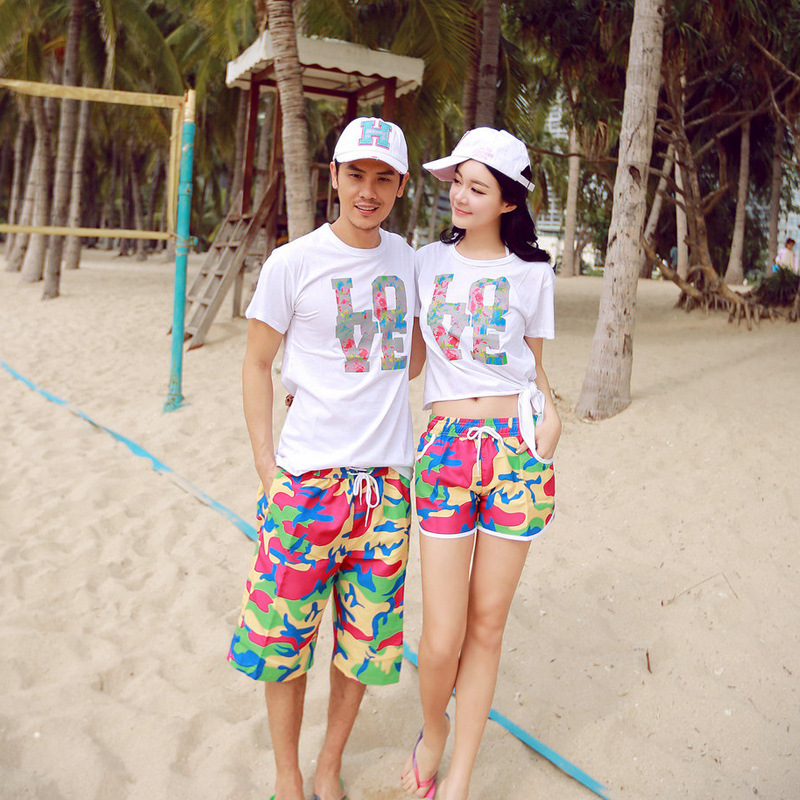 6e40a7b865 2pcs Fashion Lovers Board Shorts T shirt couple men women beach ...