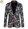 Цветочный Большой Размер Мужчины Blazer 6XL 5XL Повседневная Одежда Партия Свадебные мужские Блейзеры Моды Однобортный Пиджак Masculino 2017 новый
