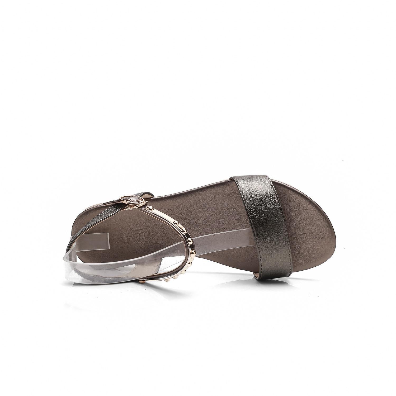Sandales 41 Chaussures Ldhzxc De 2017 Creux 46 blanc Fond D'été Noir or Cuir Véritable Plat Maman Mère Femmes En À SIqI5