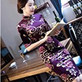2016 winter black chinese women traditional dress silk satin qipao top cheongsam flower plus