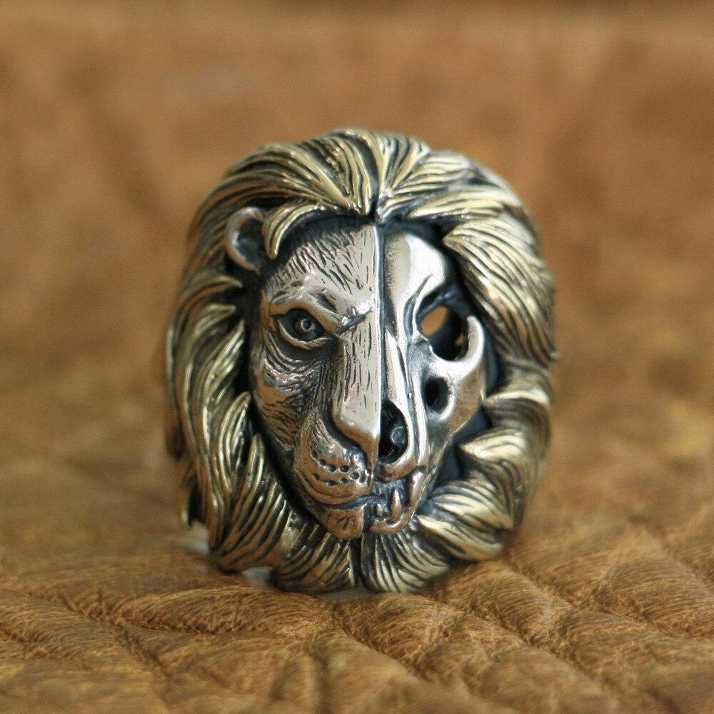 LINSION Brass Mane 925 Sterling Silver Skull Lion Ring Mens Biker Punk Ring TA115 US Size 7~15 r006 7 skull shaped stylish titanium steel ring silver us size 6
