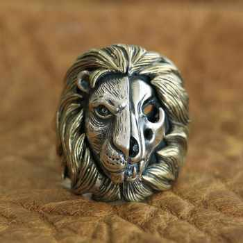 LINSION Brass Mane 925 Sterling Silver Skull Lion Ring Mens Biker Punk Ring TA115 US Size 7~15 - DISCOUNT ITEM  0% OFF All Category