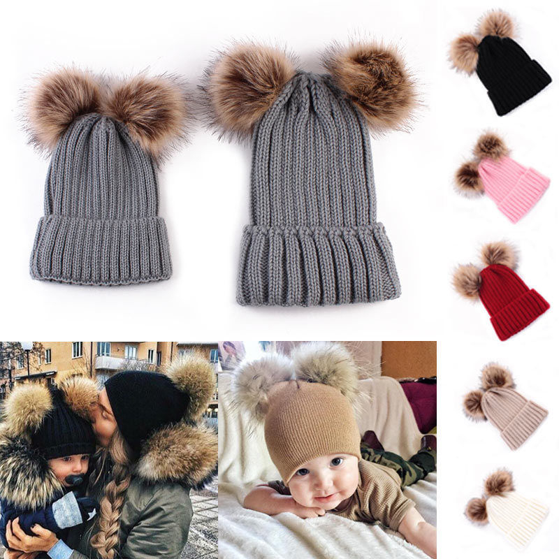 73ccfdc8973 2017 Mother Kid Baby Double Ball Child Woman Hats Keep Warm Winter Knit  Beanie Mom Baby Hats Family Matching 2Pcs Crochet Cap