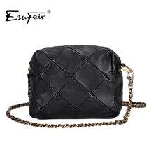 ESUFEIR Brand Genuine Leather Women Messenger Bag Patchwork Sheepskin Leather Chain Shoulder Bag Small Women Crossbody Bag