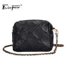 Genuine Leather Patchwork Women Messenger Bag Sheepskin Leather Chain Shoulder Bag Women Crossbody Small Bag bolsas Ladies Bag