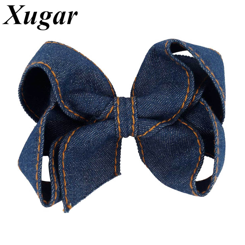 4.5 Inch High Quality Denim Hair Bow Hairgrips For Girls Trendy Hair Accessories Hair Clip Kids   Headwear
