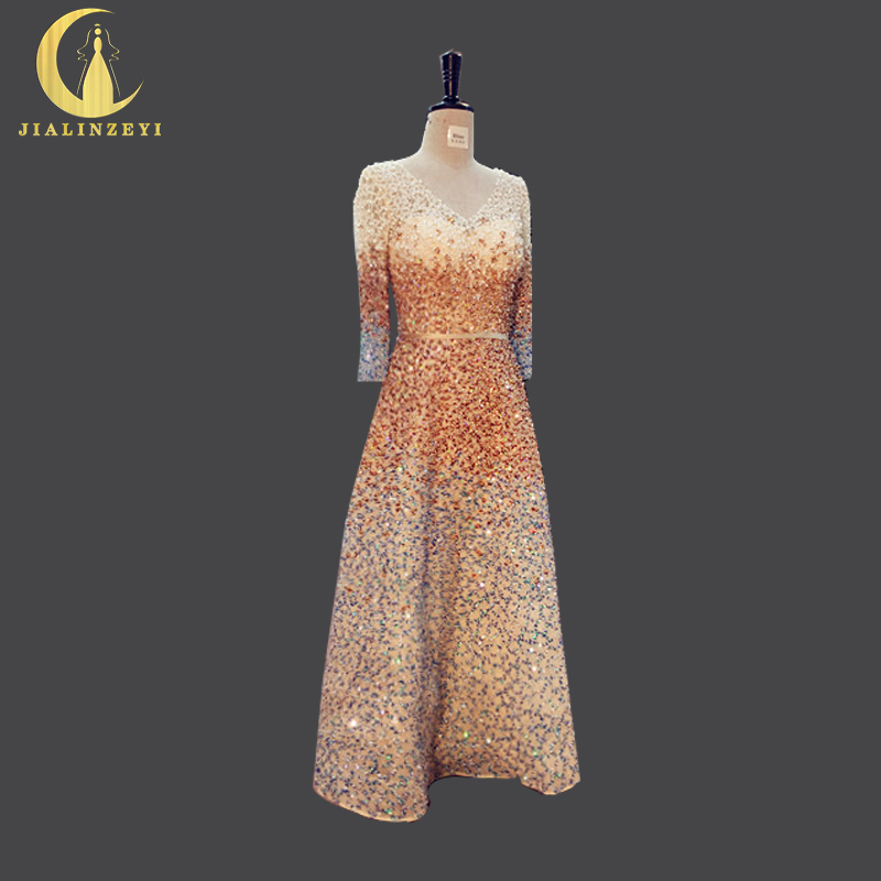 JIALINZEYI Real Picture V Neck Luxurious Full Hand Beads Long SLeeves Ankle Length Party Sexy Prom Dress Evening Dresses