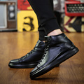 New Men Flats Casual Thick Soled Shoes Breath Ankle High Top Round Toe Skate Shoes Trainers Mens Footwear Zapatillas Hombre