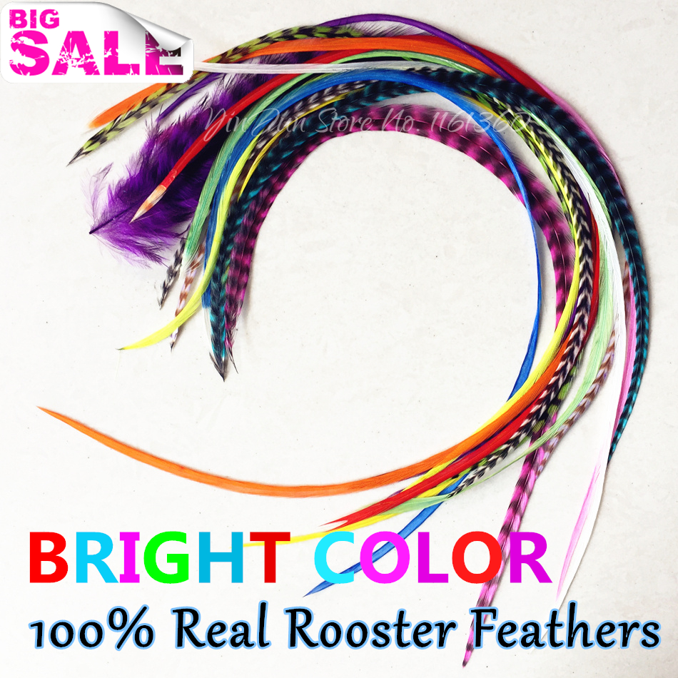 "Styling kose 15pcs 6 ""-12"" Bright Mix obojena boja pera ekstenzije za kosu Grizzly pribor za kosu Feather Bulk Pack kosa Clip"