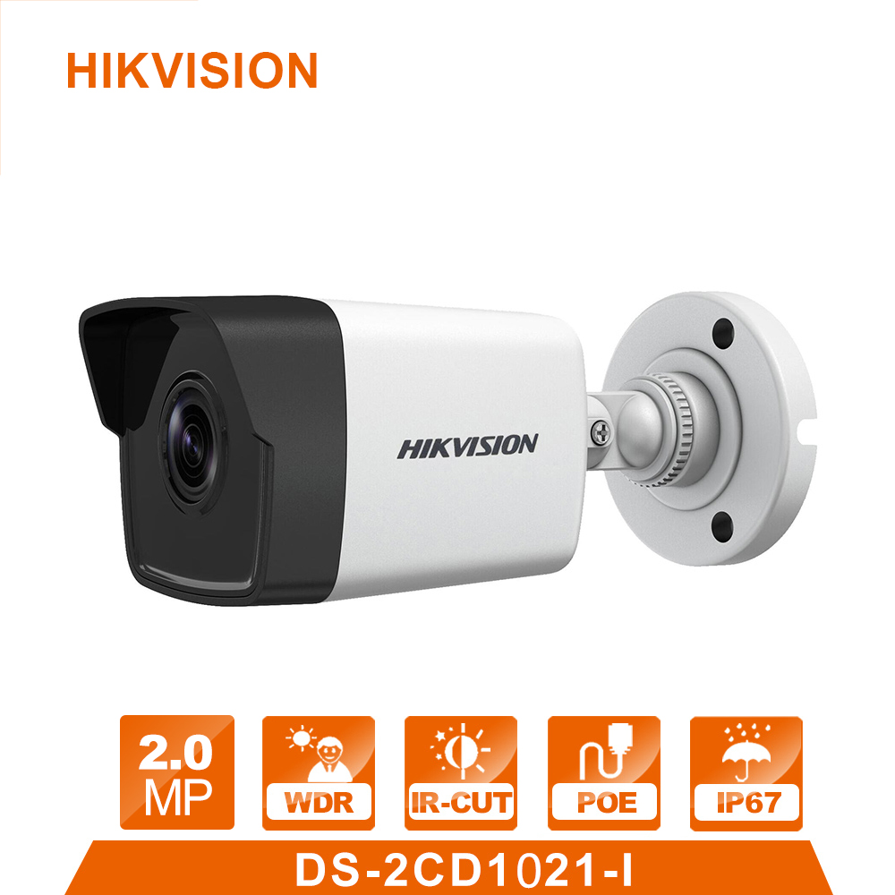 POE Bullet DS-2CD1021-I IP Camera Outdoor Day/Night Vision Security Camera alarm system for home videcam serveillance system original hikvision 1080p waterproof bullet ip camera ds 2cd1021 i camera 2 megapixel cmos cctv ip security camera poe outdoor