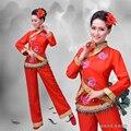 Trajes tradicionais chineses cintura tambor dança do leque yangko roupas flor vermelha bordado grupo danceclassical traje de dança