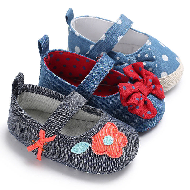 Adorable Baby Shoes Polka Dots First Walkers Toddler Girls Boys Solid Soft Sole Anti-slip Sneakers Canvas Crib Shoes Hot