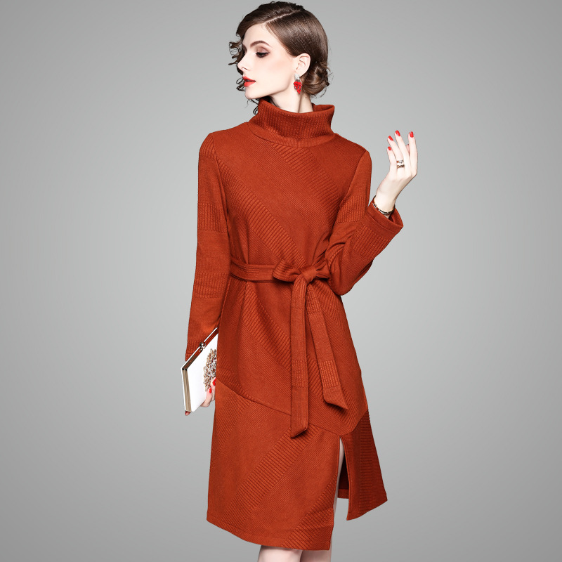 Casual Turtleneck Long Knitted Sweater Dress Women Slim Dress Pullover Female Autumn Winter Solid Split Dress New