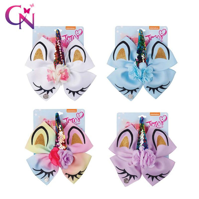 """3/"""" Kids Girls Chunky Glitter Hairgrip Shiny Flower Horn Horse Hair Clips Bowknot"""