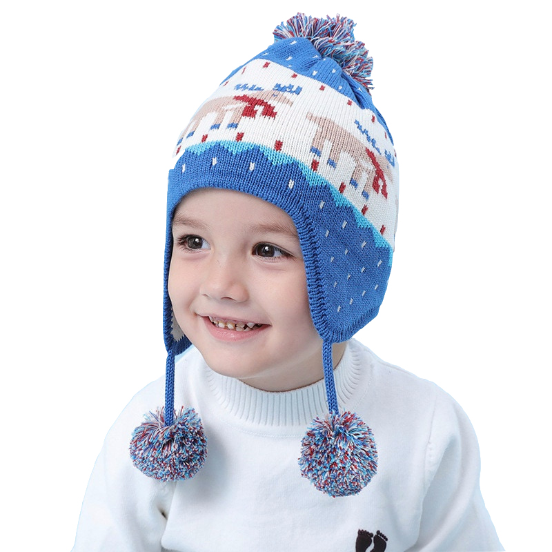 3f2b2a612ba5a Outdoor Autumn Winter Hats for Boys Girls Warm Thicken Toddler Baby Hat Kids  Gift Christmas for