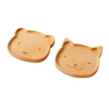 Wooden Tableware Cute Rabbit / Bear Solid Wood BowlCartoon Pattern Food Fruit Dish Tray Child Baby Serving Wood Plate cute bear head style baby dinner plate tray pink
