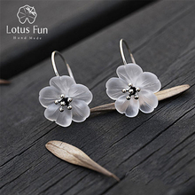 Lotus Fun Real 925 Sterling Silver Handmade Natural Designer Fine Jewelry Flower in the Rain Fashion Drop Earrings for Women