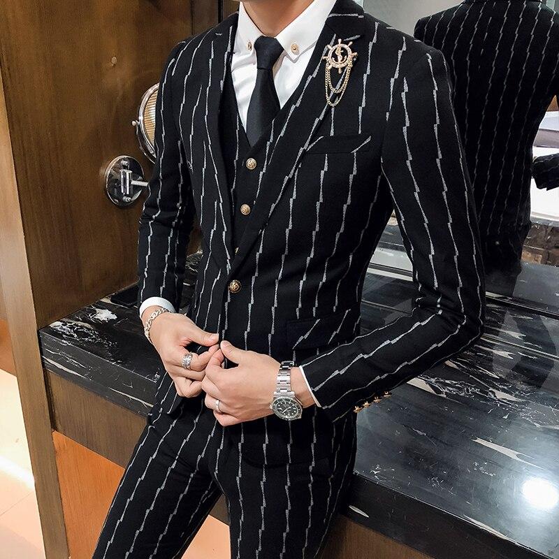 3 предмета, мужской костюм в клетку, приталенный, джентльмен, свадебные костюмы для мужчин, деловой костюм, смокинг, серый, винный, красный, зе... - 3