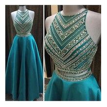 2016 beliebte A-Line Zwei Stücke Halter Lange Abendkleid Abendkleid mit Perlen Kristall Plus Größe Nach Maß Kleid