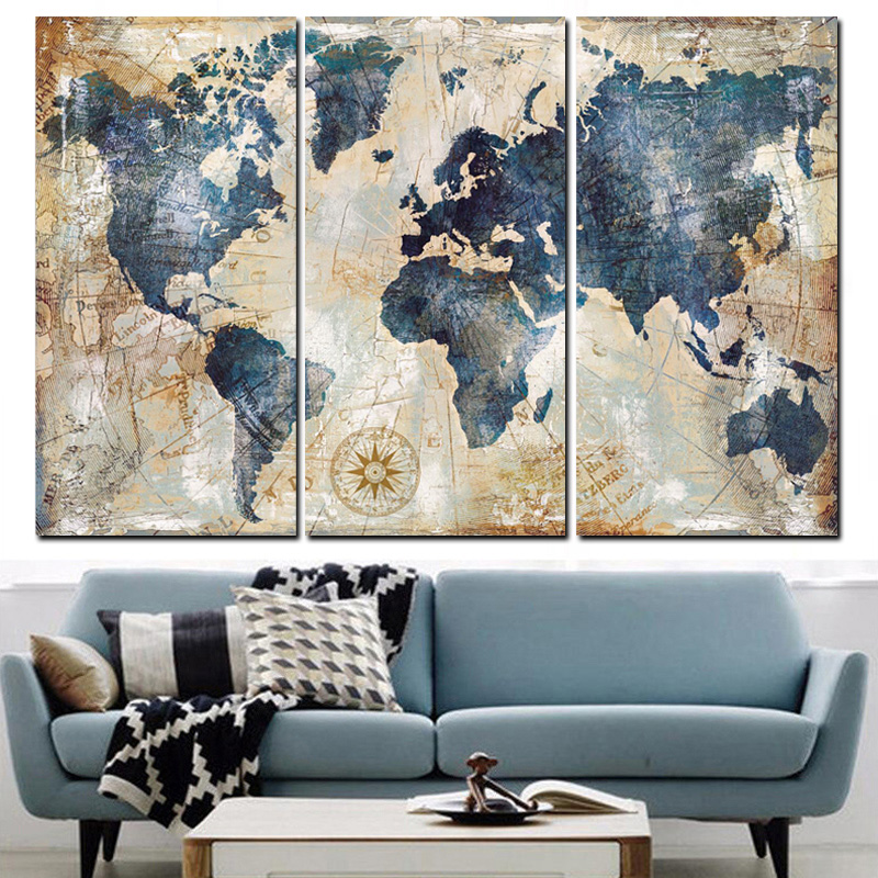 Retro Canvas Paintings Home Decor 3 Pieces World Map Pictures HD Prints Abstract Poster Living Room Wall Art Modular Framework
