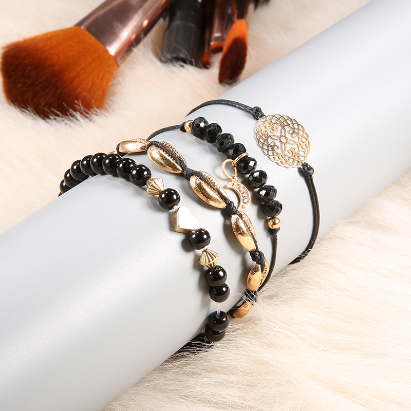 High Quality Female Gold Color Multilayer Black Rope Bracelet Set For Women Girls Shell Moon Hollow Punk Geometric Bangle in Charm Bracelets from Jewelry Accessories