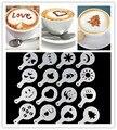 16 unids/set café latte cappuccino barista arte stencils/cake Duster plantillas café Herramientas Accesorios