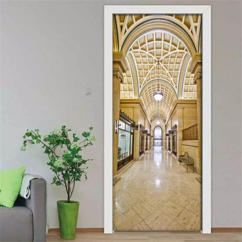 European Style Hall Photo Wallpaper 3D PVC Waterproof Self-Adhesive Door Stickers Wall Stickers Mural Bedroom Door Decor Poster