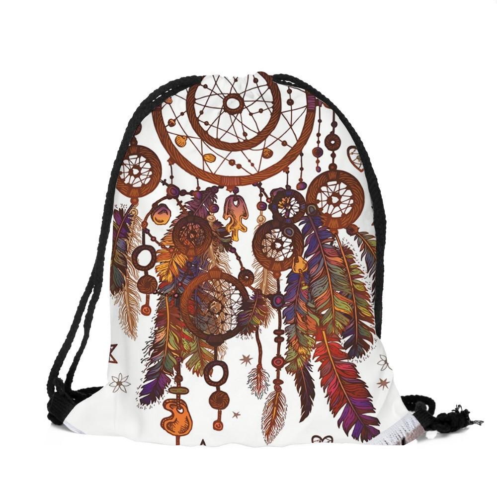 New Brand Fashion Unisex Backpacks Mandala 3D Printing Bags Polyester Drawstring Backpack Bags For Women
