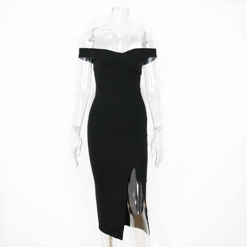 Colysmo elegante vestido de verão 2018 preto midi vestido longo dividir algodão bodycon vestido branco vestidos de festa sexy club wear vestido