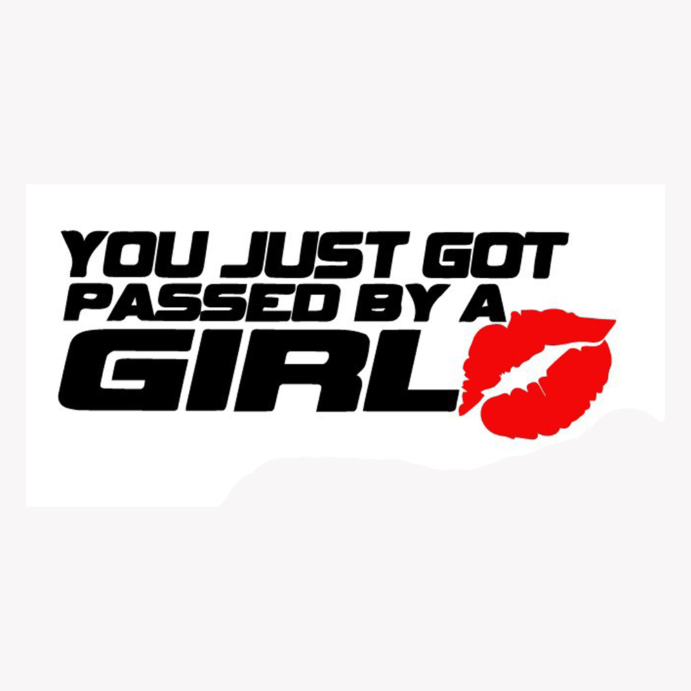 Car pass sticker design - Car Styling Auto Motorcycle Waterproof You Just Got Passed By A Girl Kiss Covers Reflective Personality