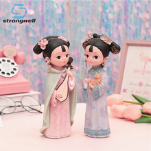Strongwell Gege Ornaments Decorative Retro Auspicious Girls Court Style Costumes Crafts Resin Birthday Gift