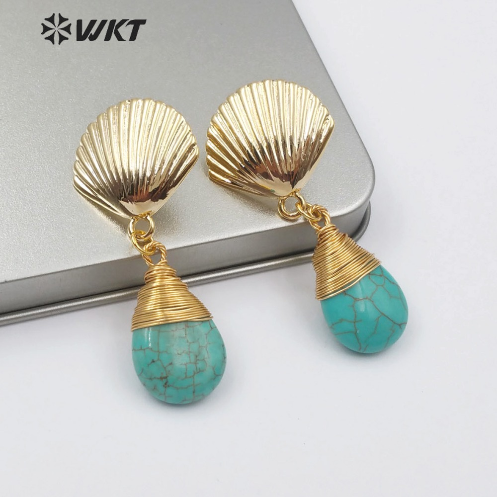 WT E509 Natural Turquoises Earring Scallop Shell Shape Metal Post Stud Howlite Stone In Teardrop Shape