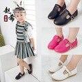 2016 Осень детская обувь принцесса 3-4-5-6 лет девочка pu обувь мода красный плоский с детская обувь дети девочка-подросток размер 26-30