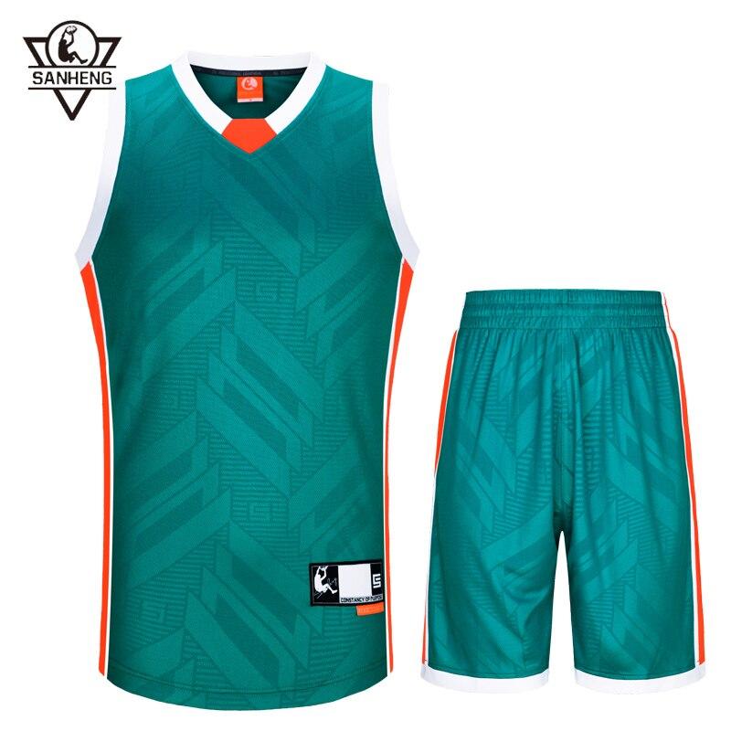 SANHENG Men's Basketball Jersey Shorts Competition Uniforms Suits Breathable Sports Clothes Sets Custom Basketball Jerseys 313AB 44 rev 30 44 pistol pete basketball jerseys