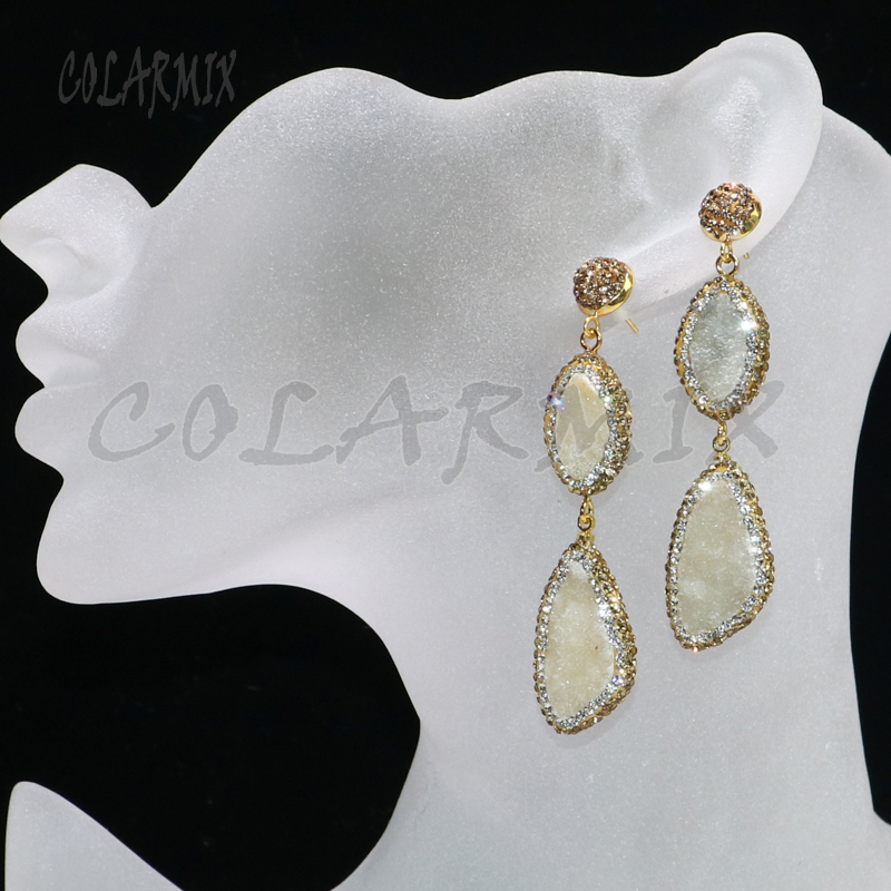 4 Pairs Natural Geode Stone Earrings Pave Gold Rhinestone Earrings Fashion Stone Earrings Long Earrings Gift For Lady 6098