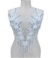 Handsewing звон серебряный стразы белого цвета и цвета слоновой кости кружевная отделка патчи 54*31 см для платье юбка