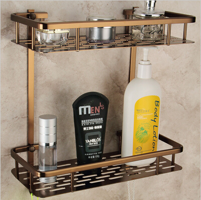 Wall Mounted Antique Bronze Alumimun Bathroom Shelf Bathroom Soap Holder Bath Shower Shelf Bath Shampoo Holder Building Materia