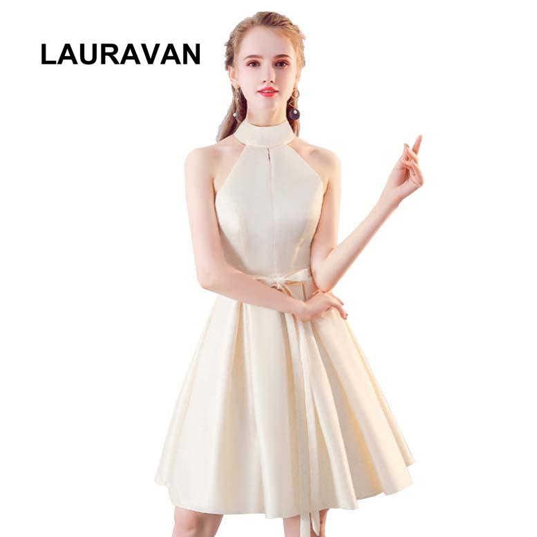 816b77386c30 2019 nuevo cuello halter satén hermoso elegante bridemaide vestido de  fiesta corto 15 años corto vestidos de dama de honor tamaño 2 para dulce 16