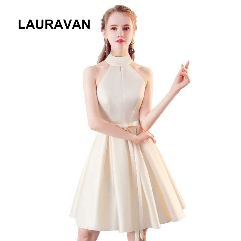 2020 New Halter Neck Satin Beautiful Elegant Bridemaide Party Dress Short 15 Years Short Bridesmaid Dresses Size 2 For Sweet 16