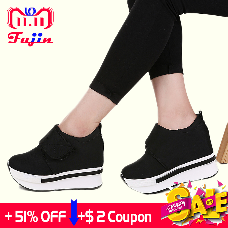 Fujin Brand Women Wedge casual shoes Platform Lace Up High heel Shoes Spring Autumn Hidden Heel Lady Sneakers Slip On Pumps cloth camouflage lace up hidden heel womens sneakers