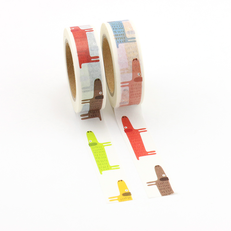 1X Cute animal Japanese Masking Washi Tape Decorative Adhesive Tape Decora Diy Scrapbooking Sticker Label school supply in Office Adhesive Tape from Office School Supplies
