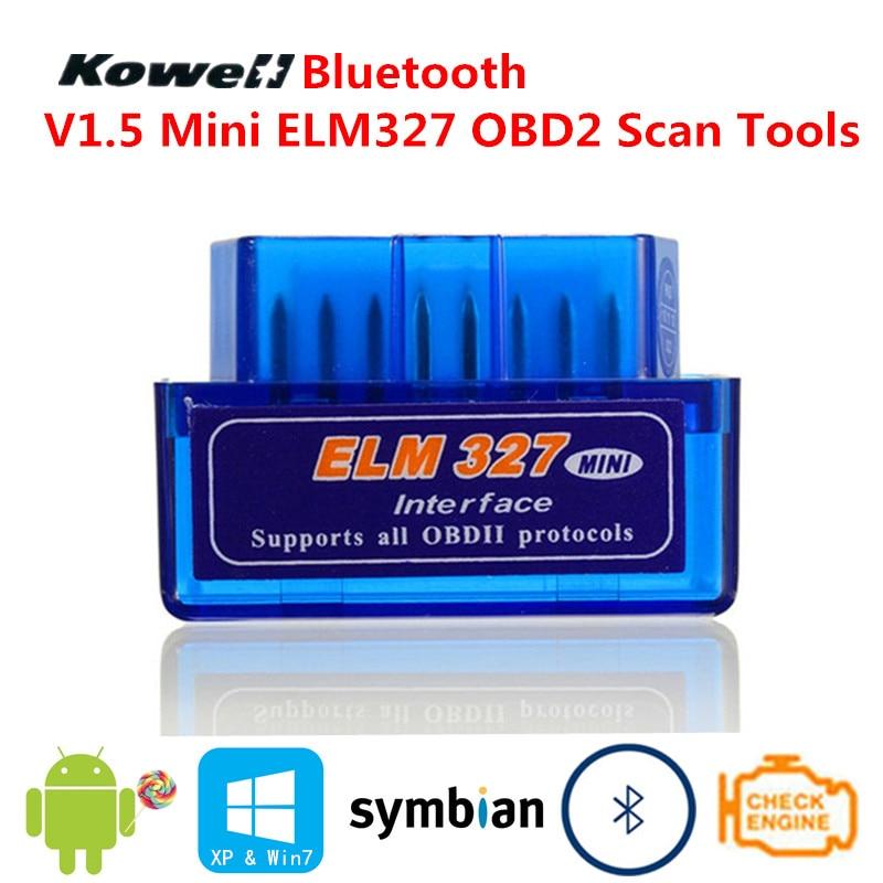 Bluetooth V1.5 Mini ELM327 OBD2 ELM 327 OBDII OBD 2 II capteur Intelligent Intelligent de balayage d'outil de Scanner d'interface automatique de voiture de Diagnostic
