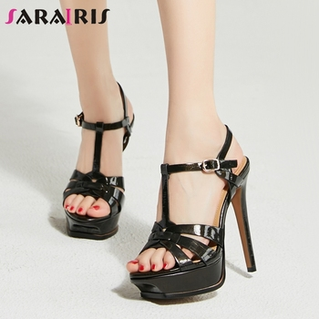 SARAIRIS Luxury Brand Genuine Leather Sexy Super High Heels Summer Wedding Sandals Woman Shoes Women Party t-strap Sandal