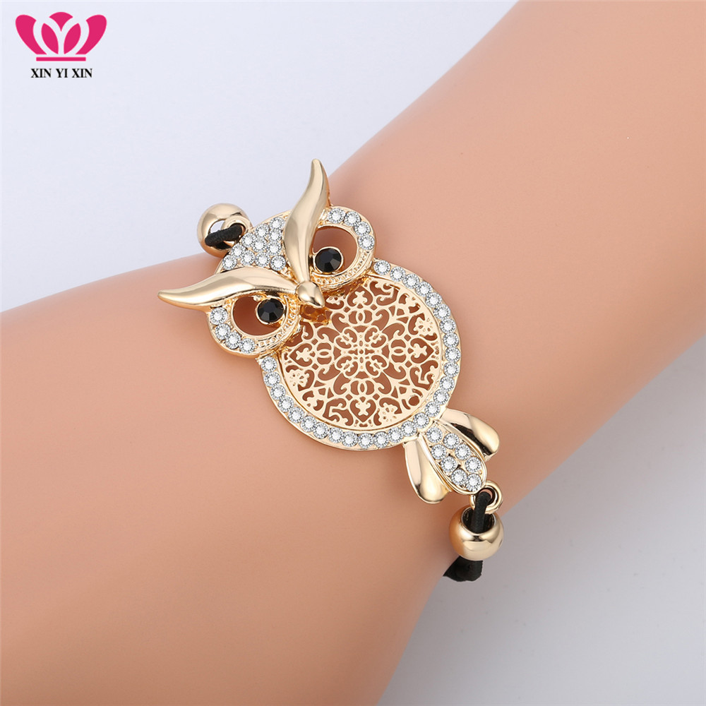 Gold Owl Charm Bracelet For Women Black Rope Chain Pulsera Mujer CZ Crystal Bracelet Femme Party Jewelry Gift Dropshipping 2018