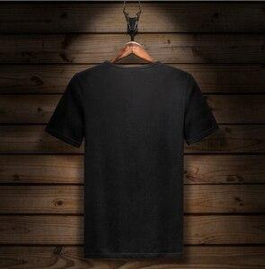 Image 2 - קצר שרוול חולצה לייקרה כותנה אלסטיים חולצת טי גברים של אופנה קיץ חצי שרוול תחתון tShirt