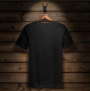 Image 2 - Kısa kollu tişört Likra Pamuk Elastik tshirt erkek moda Yaz Yarım Kollu Alt tShirt
