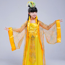 Childrens Clothing Yellow Hanfu Girls Fairy Stage Performance Costume Photography Costumes
